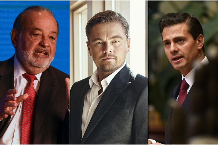 (From left) Mexican President Enrique Pena Nieto, Leonardo DiCaprio and Carlos Slim unveiled a joint plan to protect a tiny porpoise in the Gulf of California.