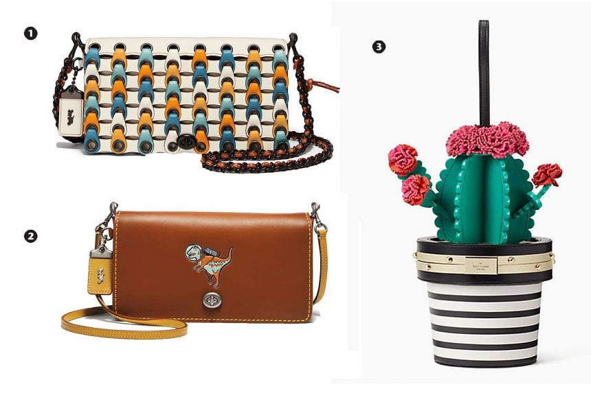 1. Coach's Colourblock Link Dinky, $1,200; 2. Embossed Rexy Dinky, $695; 3. Kate Spade's cactus bag, $688