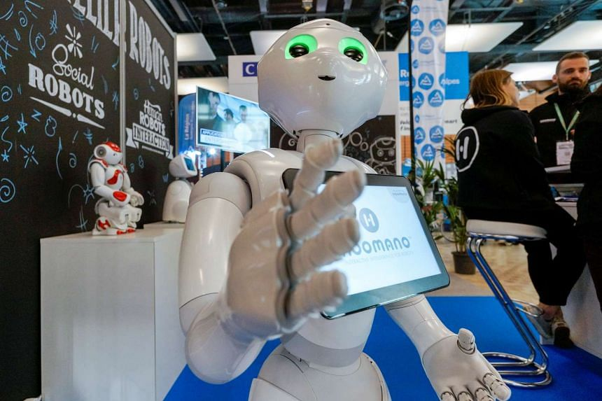 A humanoid robot known as Pepper was also on display at Mastercard's innovation lab.