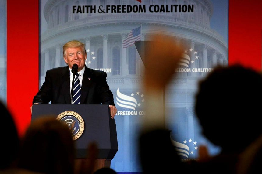 Trump addresses the Faith and Freedom Coalition's conference in Washington.