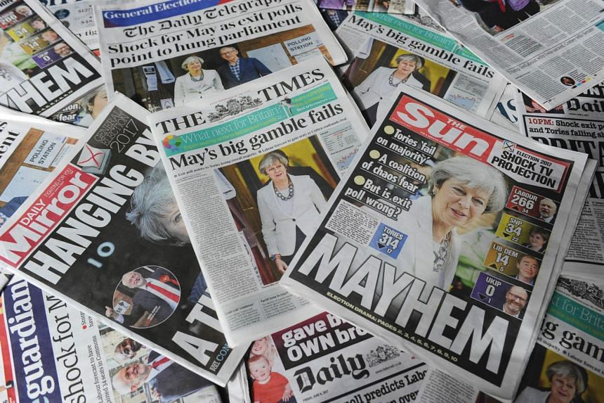 British daily newspapers showing front page stories about the exit poll results of the snap general election.