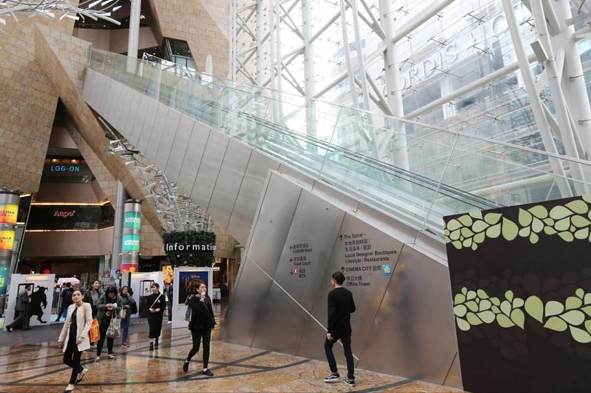 The malfunctioned escalator is seen at Langham Place in Mong Kok.