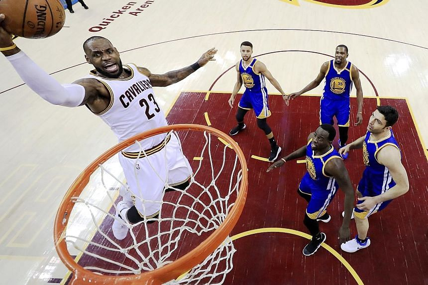 Cleveland Cavaliers forward LeBron James driving to the basket against the Golden State Warriors in Game Three of the NBA Finals. James finished with 39 points, but that effort was not enough as the Warriors held out to take a 3-0 lead in the champio
