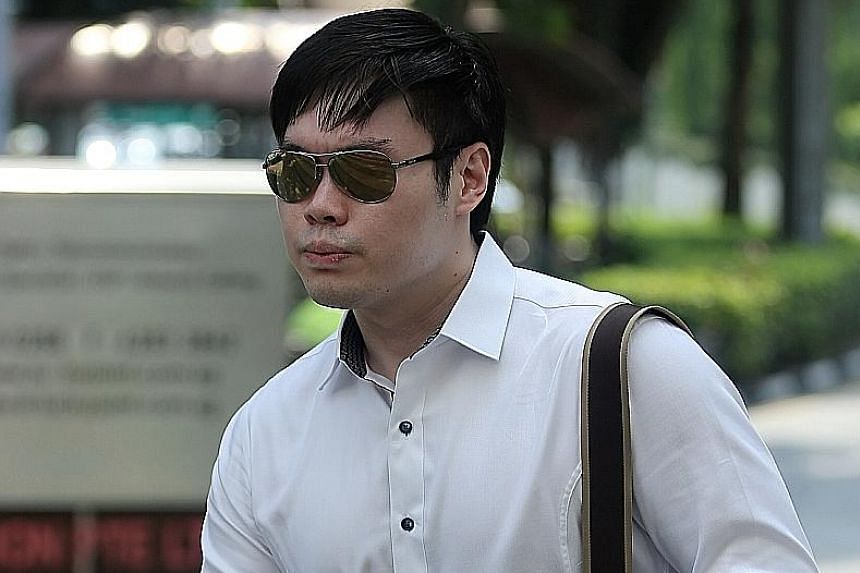 Mark Tan Peng Liat (above, at court, and with his father at left) had put his father in a necklock and a chokehold that killed him during a quarrel over money.