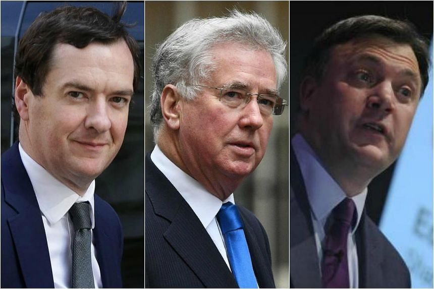 (Left to right) Former British Finance Minister George Osborne, Defence Minister Michael Fallon and Former Labour Spokesman Ed Balls.