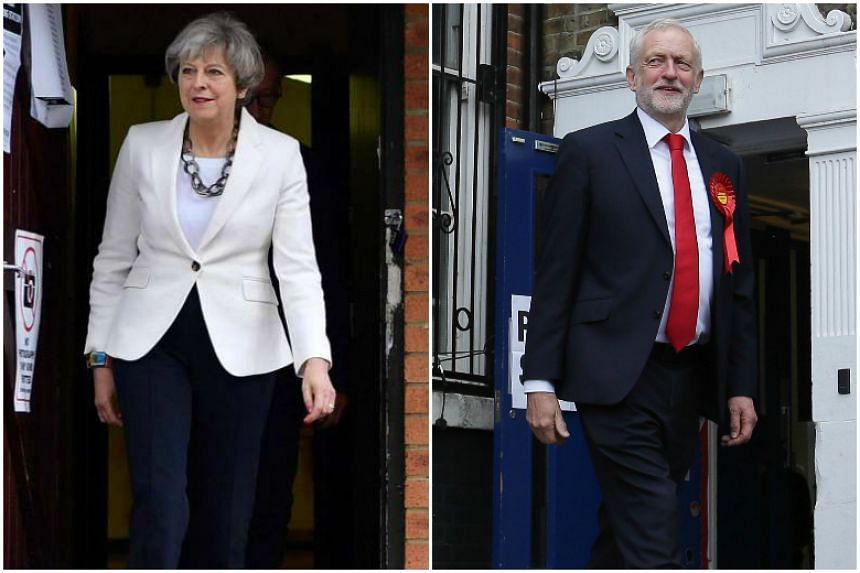 Theresa May (left) and Jeremy Corbyn leave polling stations after casting their votes.