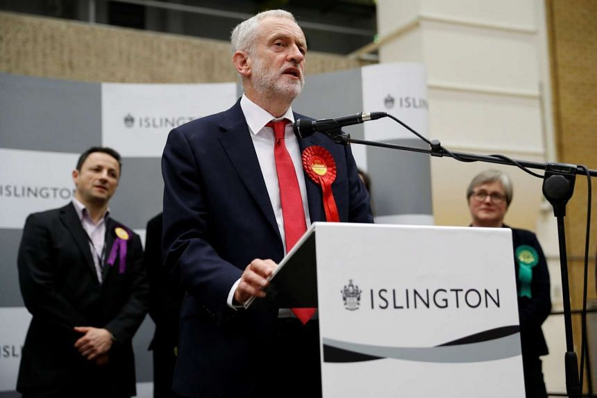 Mr Jeremy Corbyn, leader of Britain's opposition Labour Party, speaks at a counting centre for Britain's general election in London.