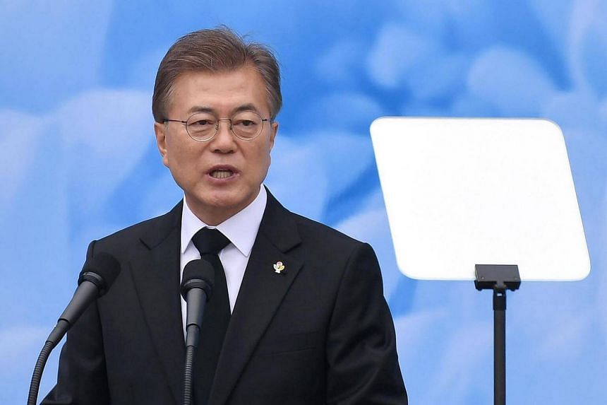 South Korean President Moon Jae-in delivers a speech during a ceremony to mark Korean Memorial Day.