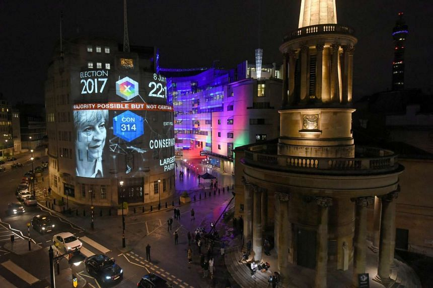 Exit poll results are projected on the BBC's Broadcasting House in central London.