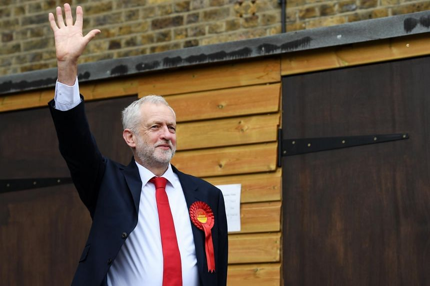 British Labour Party leader Jeremy Corbyn arrives to vote in the British General election at a polling station in Islington.