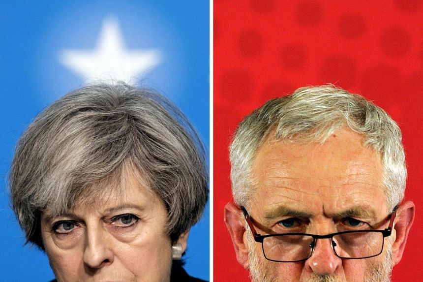Conservative incumbent Theresa May (left) and Labour opposition leader Jeremy Corbyn.