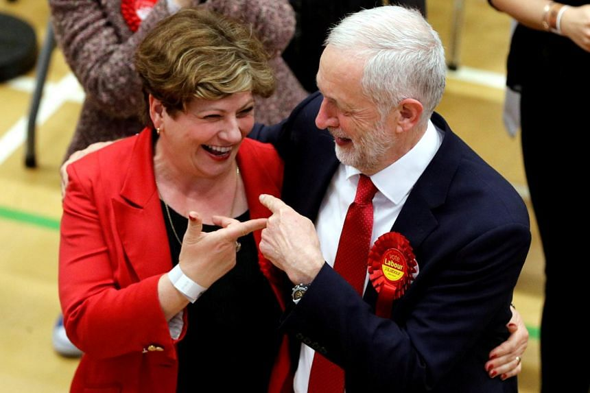 Mr Jeremy Corbyn (left), leader of Britain's opposition Labour Party, and Labour Party candidate Emily Thornberry at a counting centre for Britain's general election in London, on June 9, 2017.