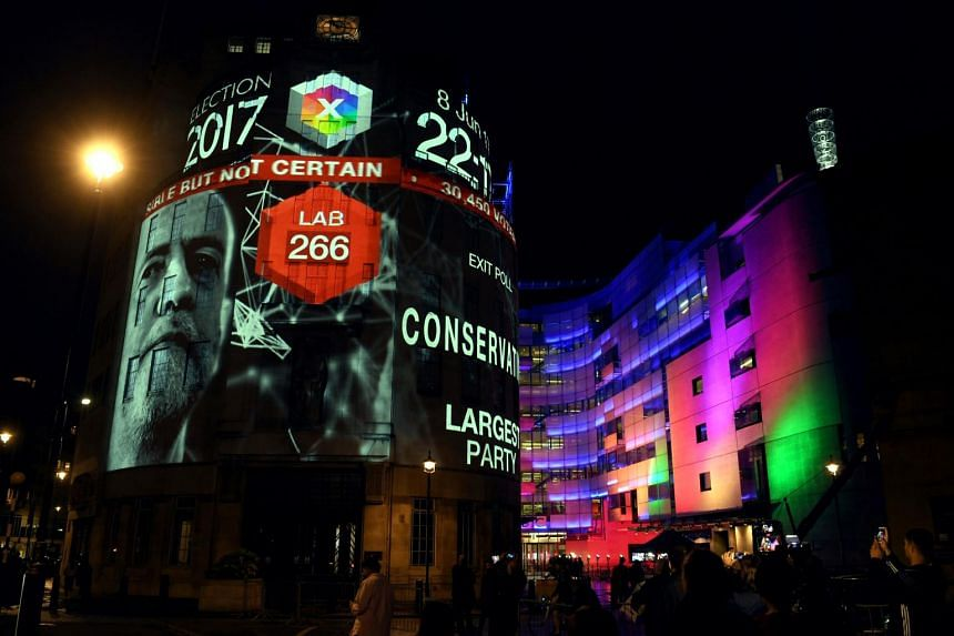 An exit poll predicting that the Labour Party led by Mr Jeremy Corbyn will win 266 seats in the British general election is projected onto BBC Broadcasting House, Portland Place, in London, on June 8, 2015.