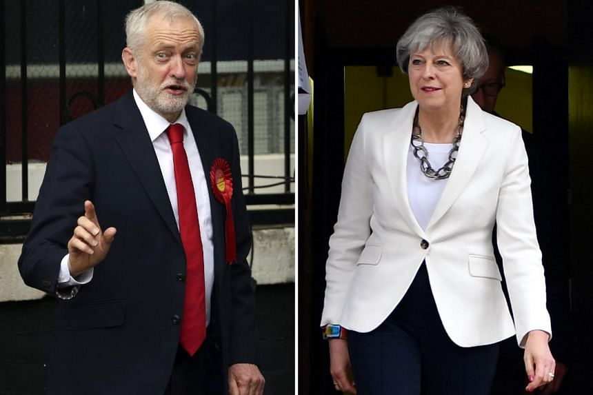 Opposition Labour party leader Jeremy Corbyn (left) voting in north London and British Prime Minister Theresa May voting in Maidenhead on June 8, 2017.