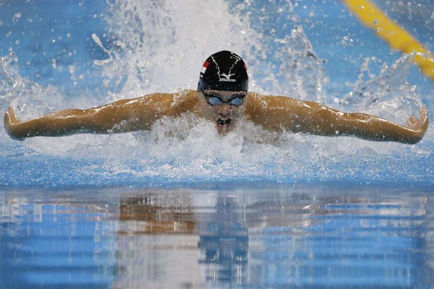 Joseph Schooling of Singapore in action during the Rio 2016 Olympic Games men's 100m butterfly final at the Olympic Aquatics Stadium in Rio de Janeiro, Brazil, on Aug 12, 2016.