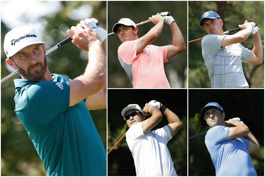 (Clockwise from left) Dustin Johnson, Rory McIlory, Jordan Spieth, Jon Rahm and Hideki Matsumaya are the players to watch for the 2017 US Open.