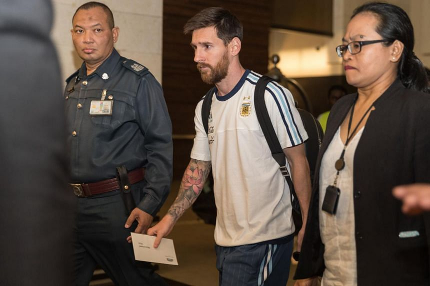 Five-time Fifa Player of the Year, Lionel Messi leaving the JetQuay CIP Terminal on June 10, 2017.