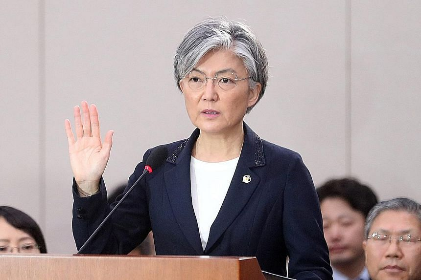Ms Kang Kyung Wha, South Korea's foreign minister nominee, taking an oath at her confirmation hearing on Wednesday.