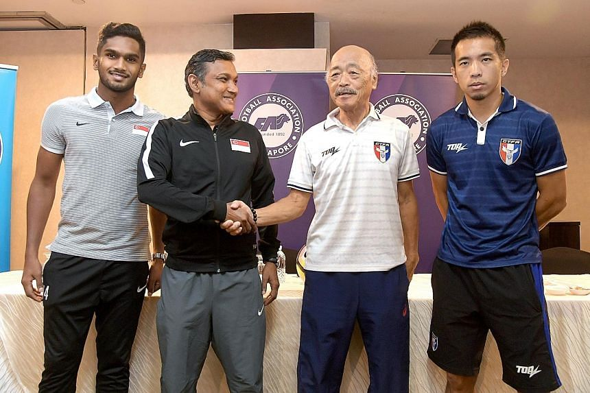 National football coach V. Sundram Moorthy and vice-captain Hariss Harun at a press conference with Chinese Taipei interim coach Kazuo Kuroda and defender Chen Yi-wei. Singapore will be missing top scorer Khairul Amri who had an appendix operation.