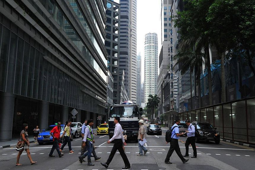 People at Robinson Road in the Central Business District (CBD).