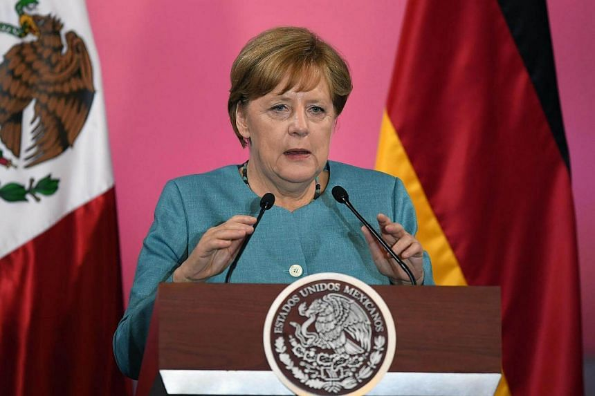 German Chancellor Angela Merkel delivering a speech in Mexico City, on June 9, 2017.