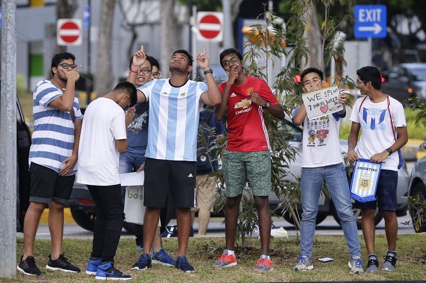 A group of Argentina fans waiting outside CIP Terminal for the Argentina team bus on June 10, 2017.
