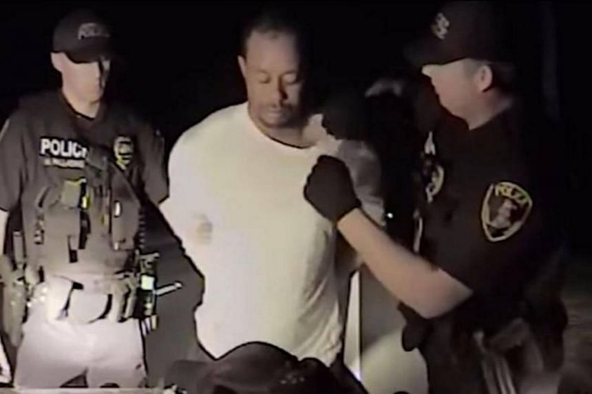 This still image from a dashcam video released by the Jupiter, Florida, Police Department on May 31, 2017, shows Jupiter police offices arresting golfer Tiger Woods on May 29, 2017.