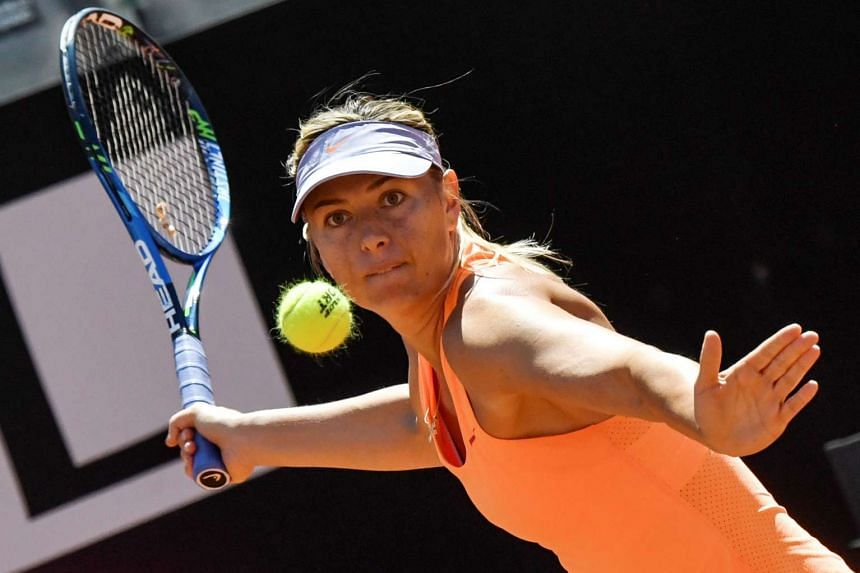 Maria Sharapova in action in Rome in May 2017