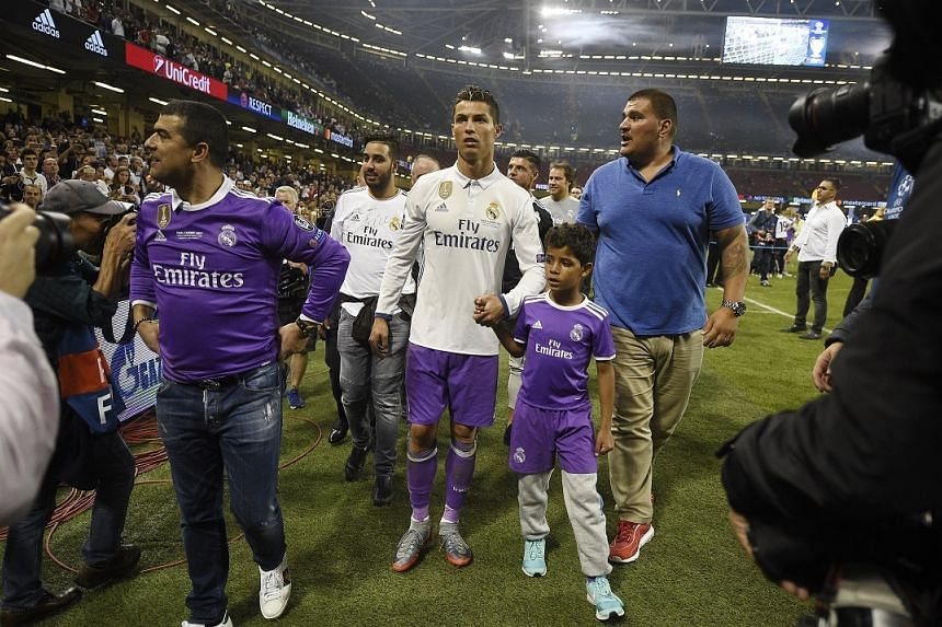 Ronaldo and son Cristiano Ronaldo Jr after the Juventus and Real Madrid Champions League final.
