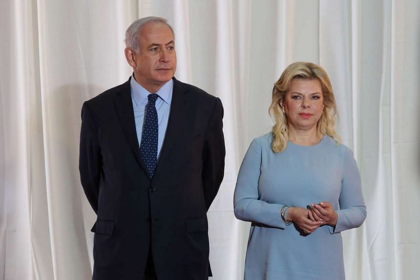 Israeli Prime Minister Benjamin Netanyahu and his wife Sara at the Prime Minister's office in Jerusalem, on June 6, 2017.