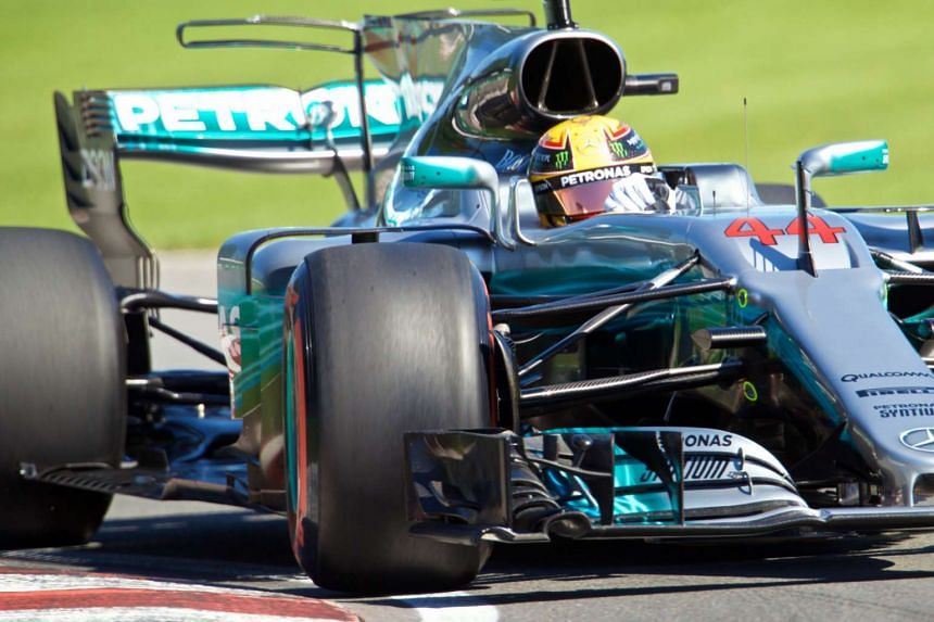 Hamilton in action during the third free practice session.