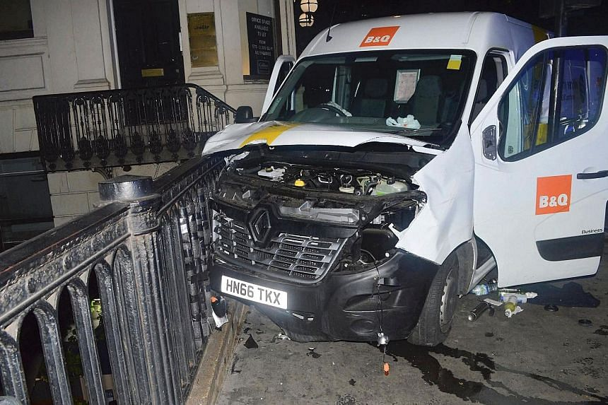 Handout pictures released by the Metropolitan Police Service yesterday show: Top: The white Renault van used by the attackers to carry out the June 3 London Bridge terrorist attack. Left: Debris including Molotov cocktails and blowtorch gas canisters