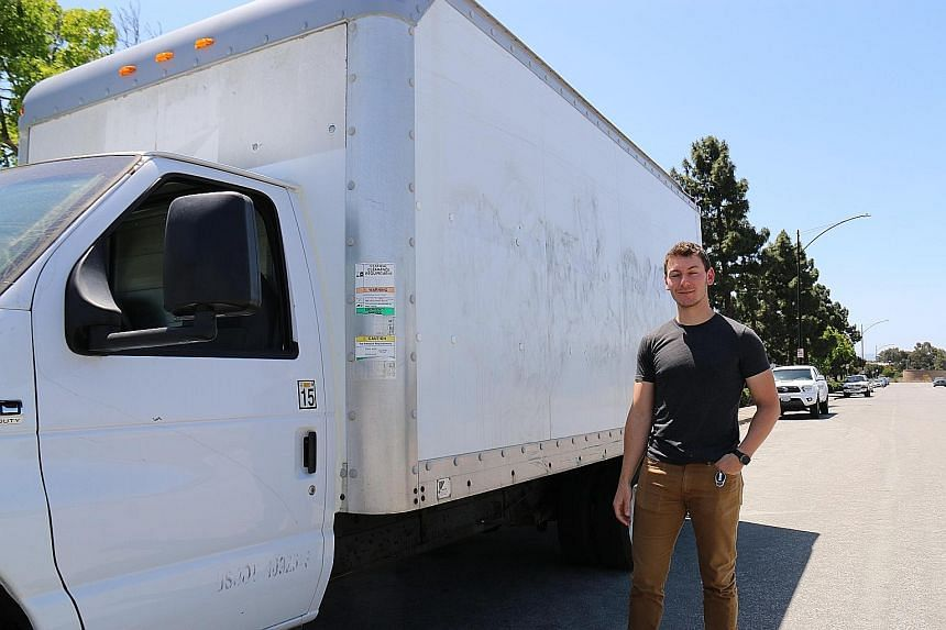 Google engineer Brandon chose to live in a 128 sq ft box truck instead of spending an exorbitant sum on rent. He eats and does his laundry at Google, and showers at a gym.