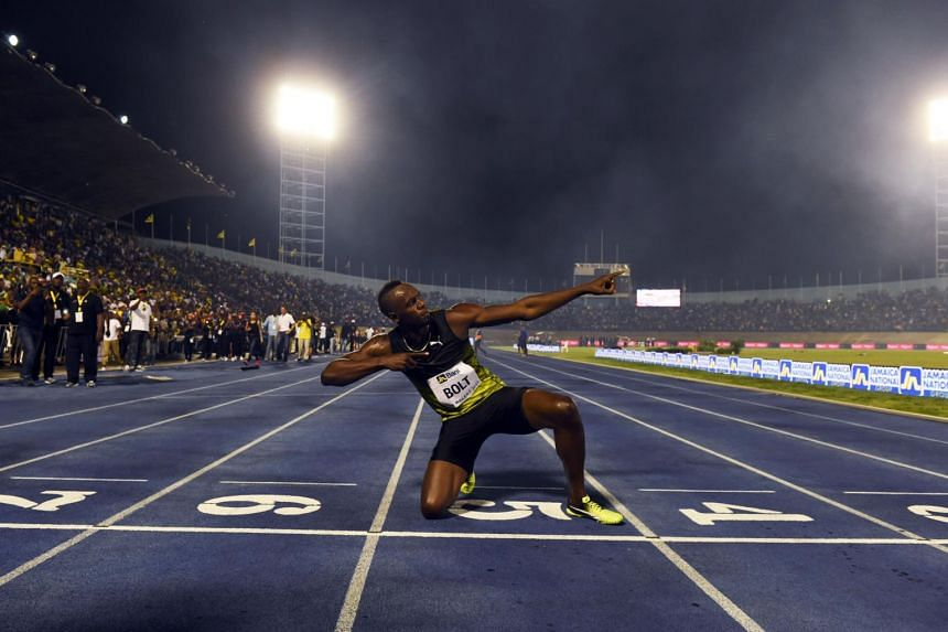 Usain Bolt celebrating after winning the 100m sprint at the 2nd Racers Grand Prix in Kingston, Jamaica, on June 10, 2017.