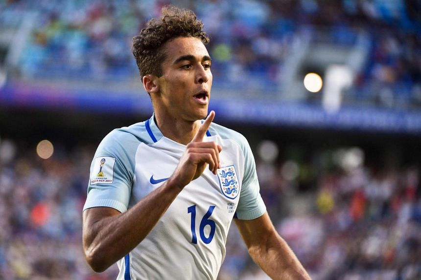 England's forward Dominic Calvert-Lewin celebrates a goal during the Under-20 World Cup final football match against Venezuela in Suwon on June 11, 2017.