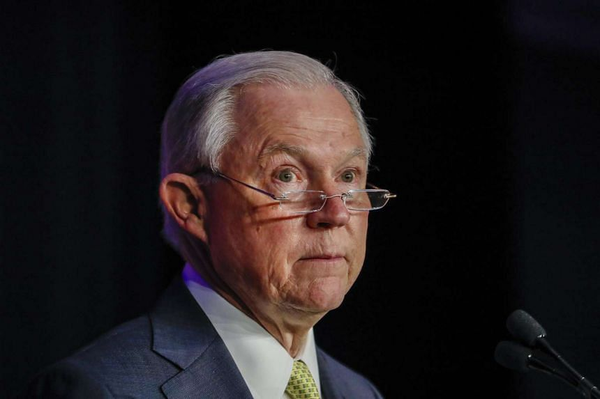 US Attorney-General Jeff Sessions speaks at the National Law Enforcement Training on Child Exploitation meeting in Atlanta, Georgia, on June 6, 2017.