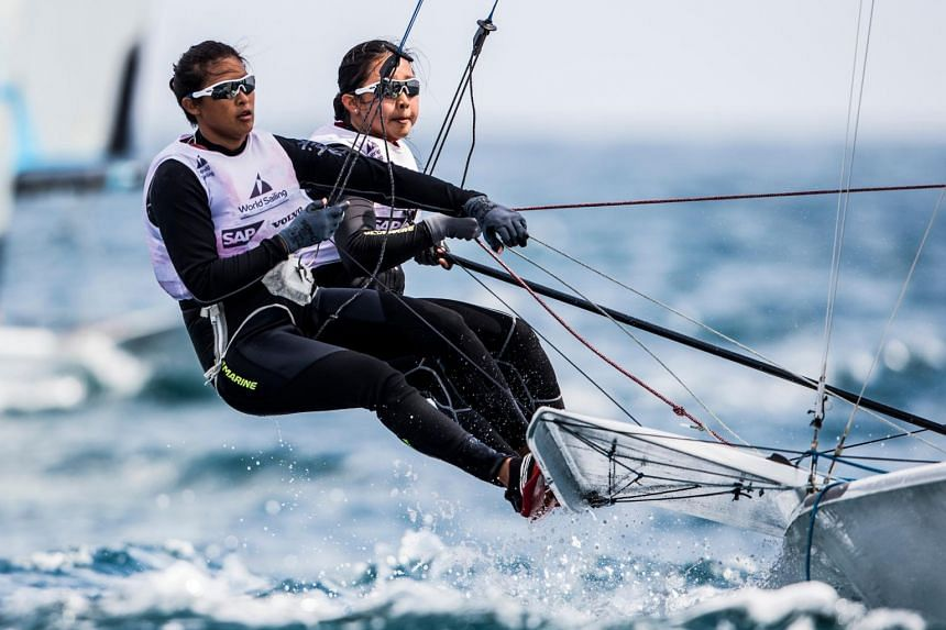 Singapore duo Kimberly Lim and Cecilia Low, who are targeting a spot in the 2020 Tokyo Summer Olympics, finished seventh in the 15-boat final of the Sailing World Cup.