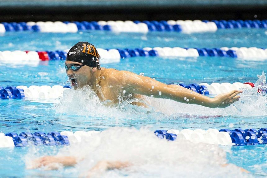 Joseph Schooling competing at the National Collegiate Athletic Association (NCAA) swimming championships.