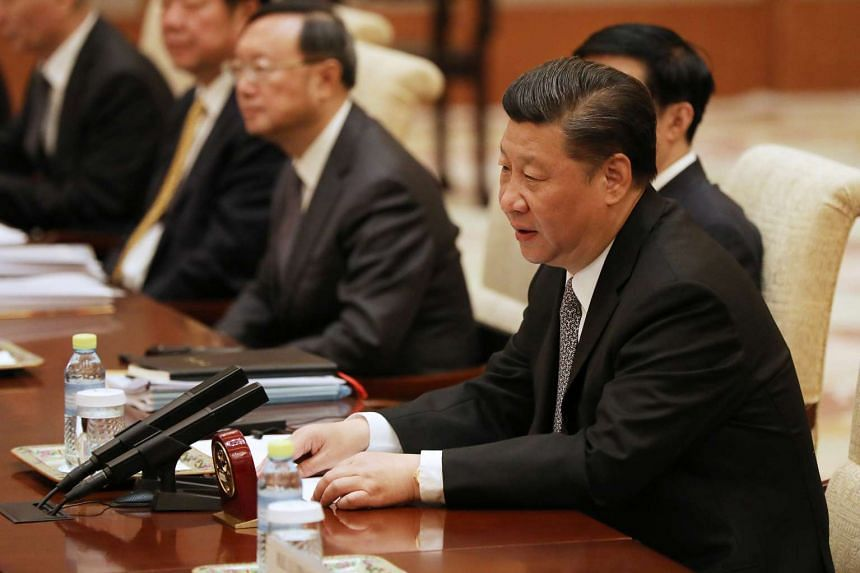 Chinese President Xi Jinping at a bilateral meeting at Diaoyutai State Guesthouse in Beijing, China, 16 May 2017.