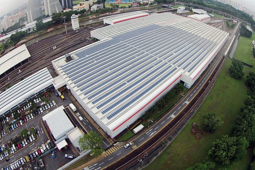 Solar leasing firm Sunseap completed the installation of a 1MWp solar photovoltaic system covering 10,000 sq m on the main building of SMRT's Bishan Depot last October. It allows the depot to meet energy needs such as lighting and air-conditioning fo