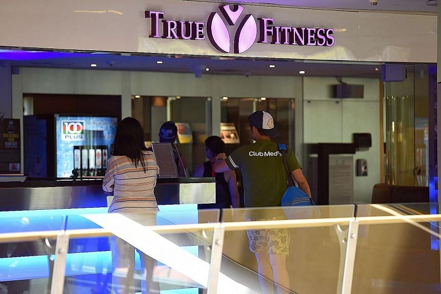 The True Fitness centre at Velocity in Novena Square yesterday. Both this outlet and another in Ang Mo Kio were bustling with customers when ST paid a visit.