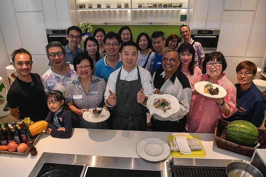 The event hosted by Straits Times Life editor Tan Hsueh Yun (second from right) included a farm-to-table cooking demonstration by One Farrer Hotel & Spa chef Elson Cheong (centre).