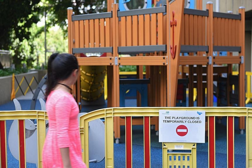 This outdoor playground at Parkway Parade has been closed to the public since May 6, after a laundry rack with a few towels landed in it. No one was hurt in the incident, which is under investigation.
