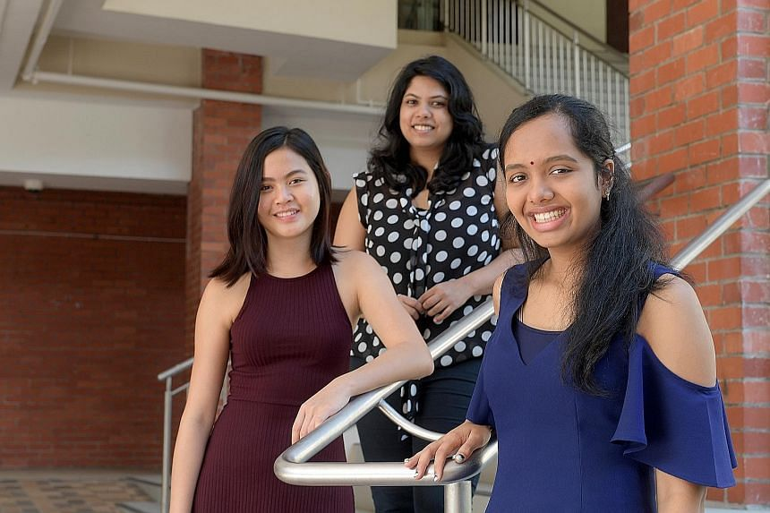 One of the students' mentors, BSE astropreneur and engineer Priyadarshini Majumdar, 24, is flanked by group members Jaclyn Chan and Sunita Srivatsan, both 17. The group's project was successfully carried to space on June 4. The spacecraft arrived las