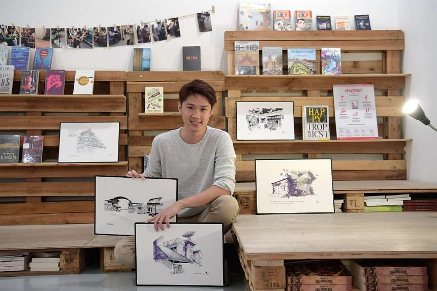 Artist Chen Yi Xi, whose book launch - sketches of his memories growing up at Caldecott Hill - will be Booktique's final event.