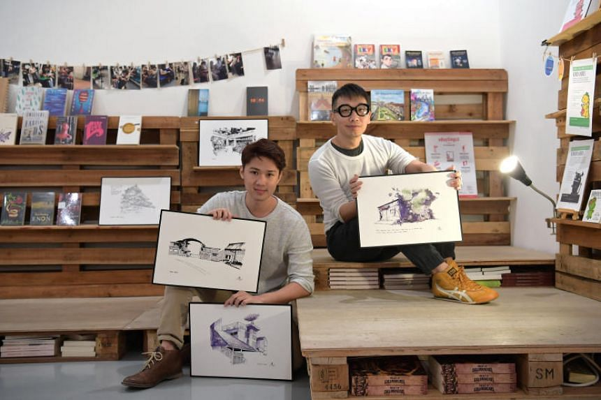 Booktique owner Anthony Koh Waugh (right) and artist Chen Yi Xi, whose book launch of Xi The World - sketches of his memories growing up at Caldecott Hill - will be the store's final event.