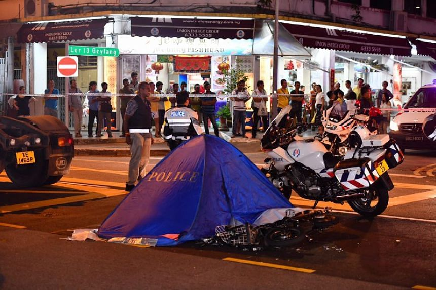An e-bike rider died in an accident at the junction of Geylang Lorong 13 and Sims Avenue.