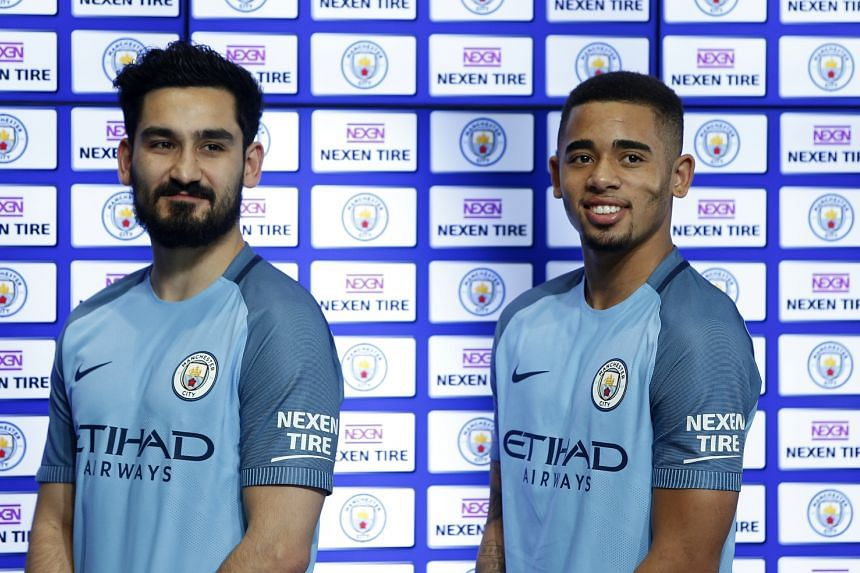 Manchester City's Ilkay Gundogan and Gabriel Jesus during the announcement of a partnership with Nexen Tire.