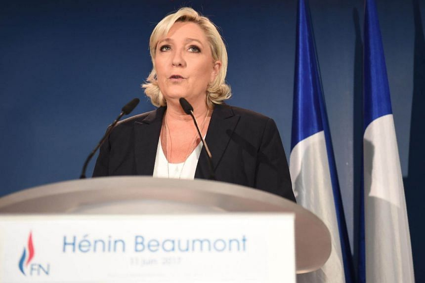 France's far-right National Front (FN) leader and parliamentary candidate Marine LePen giving a speech, on June 11, 2017.