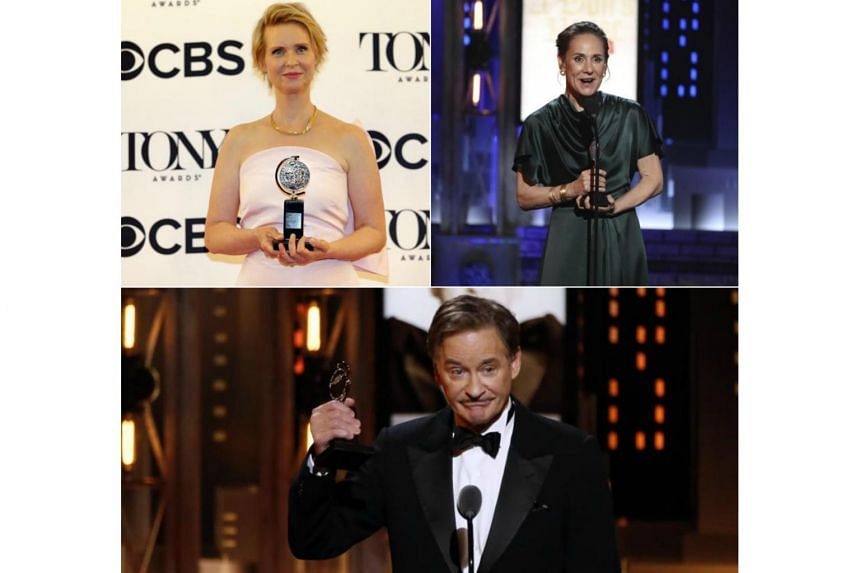 (Clockwise)  Cynthia Nixon winning the award for the Best Featured Actress In A Play,  Laurie Metcalf winning Best Performance By An Actress In A Leading Role in a play and Kevin Kline winning Best Leading Actor In A Play.